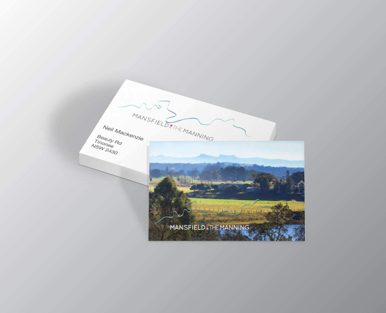 brochures and business cards for mansfield on the manning